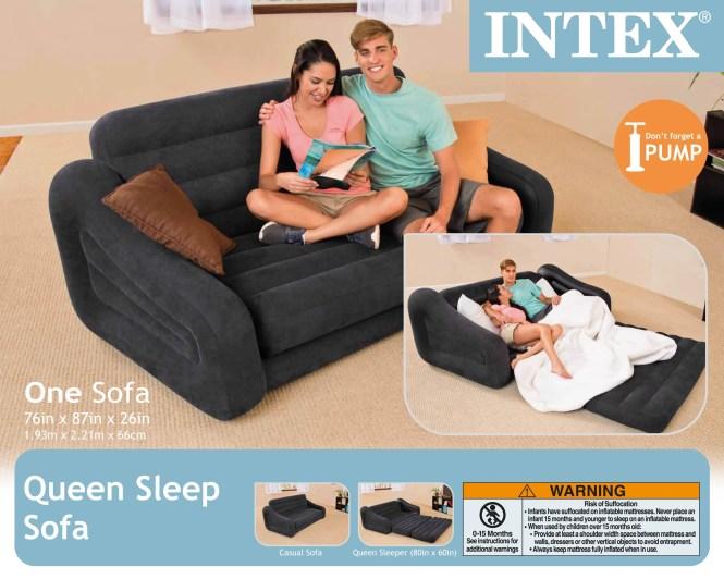 Intex Inflatable Pull Out Sofa Queen Bed Mattress Sleeper W Ac Air Pump