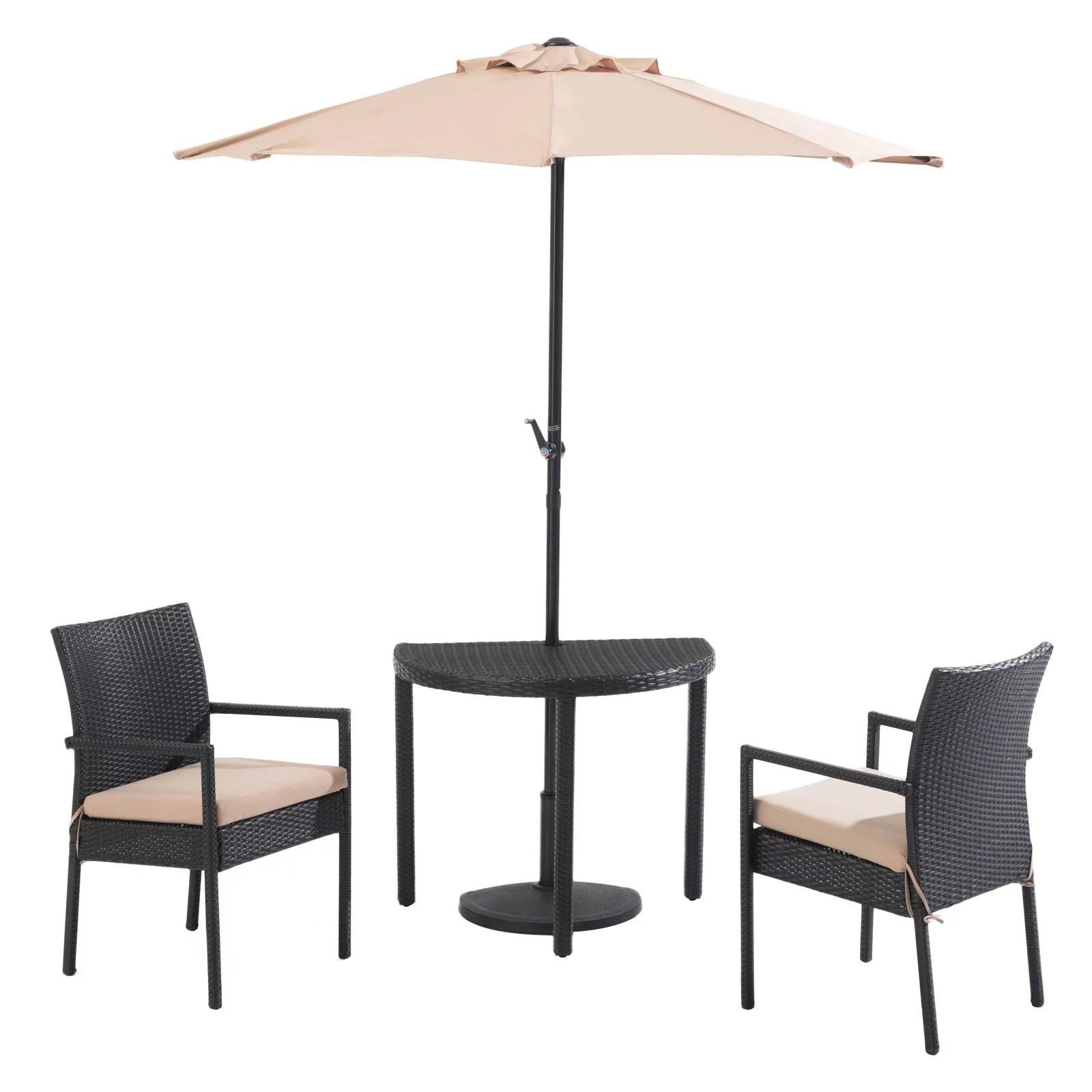 sunnest sunjoy half round rattan 4 piece umbrella patio bistro set walmart com