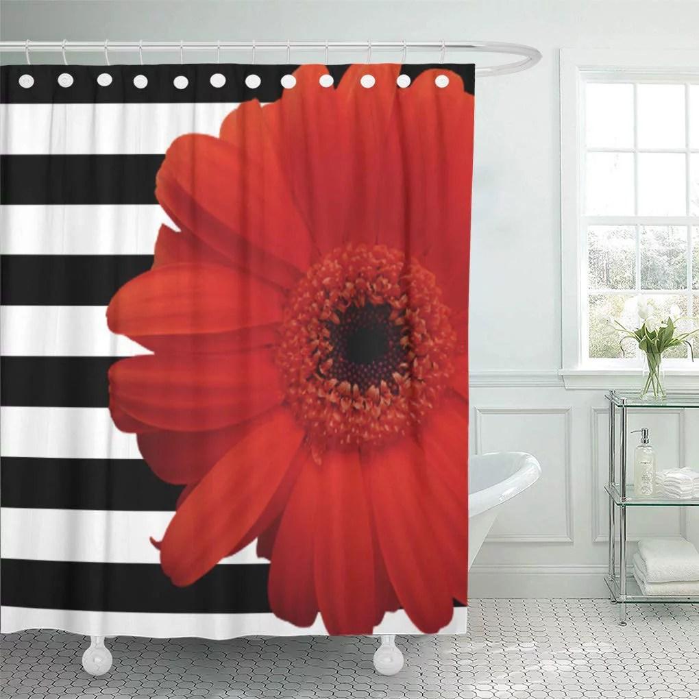 cynlon daisies red daisy flower black white flora stripe floral bathroom decor bath shower curtain 66x72 inch