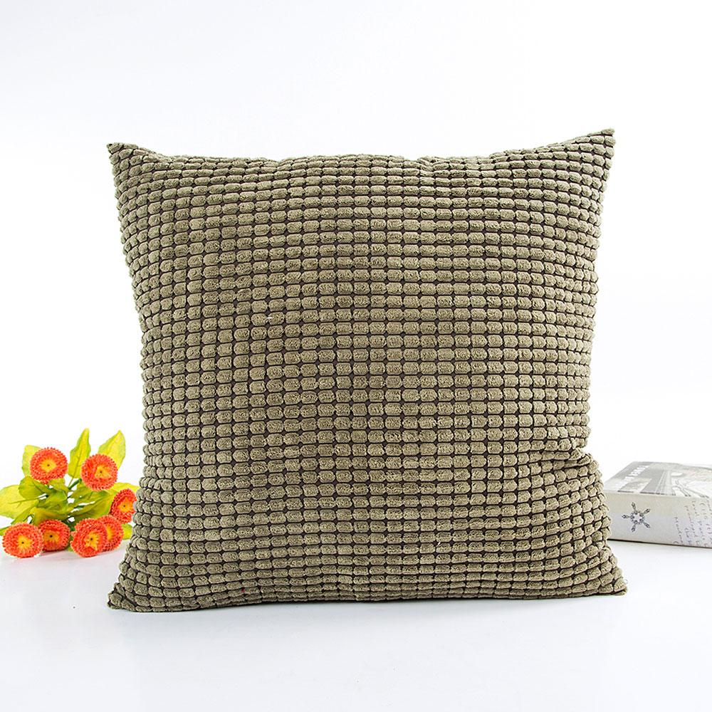 sofa throw corduroy pillow case cushion cover pure color home bed car decor