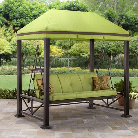 better homes gardens sullivan pointe gazebo porch swing bed seats 3 green