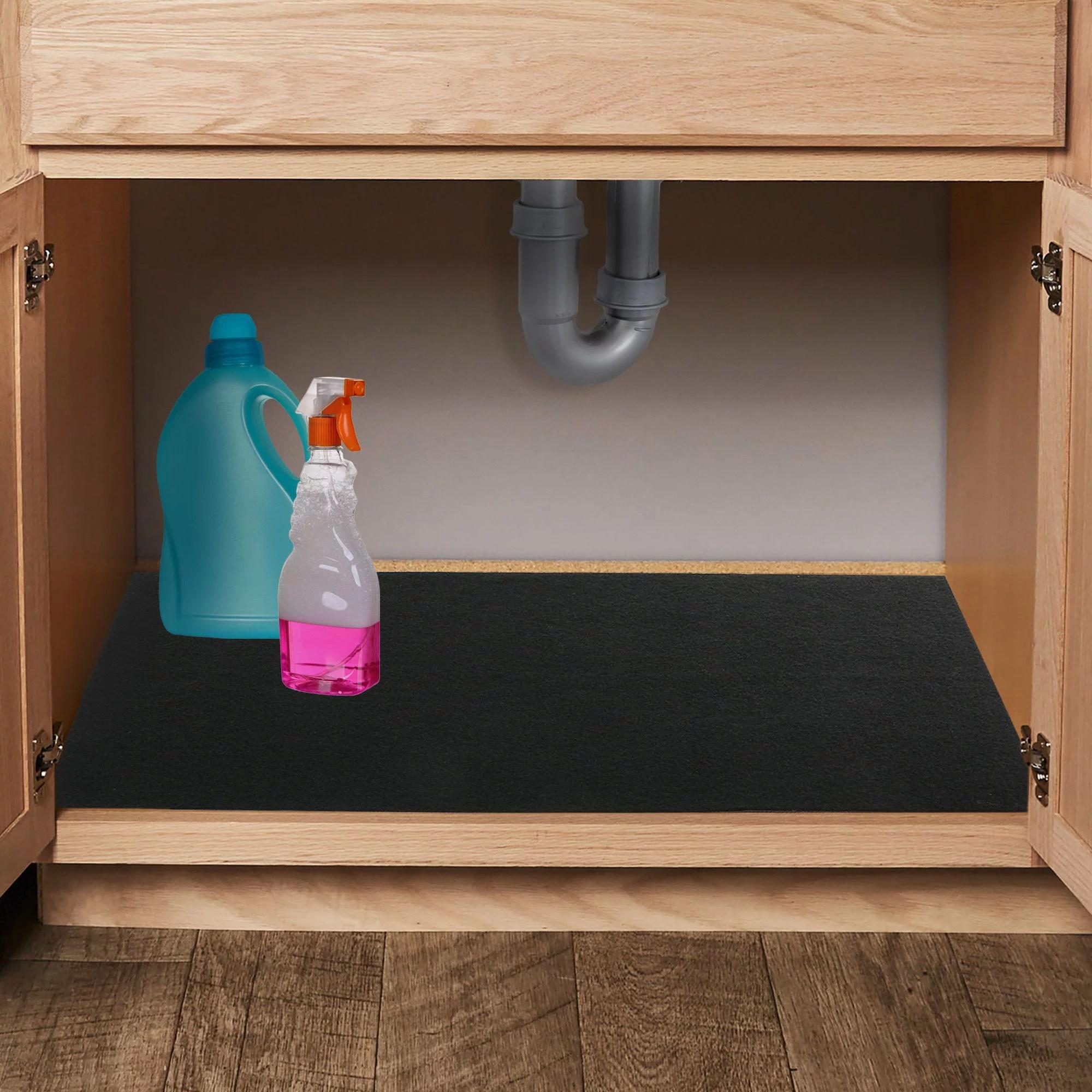 kitchen cabinet under the sink foam mat waterproof shelf liner black 36 x24