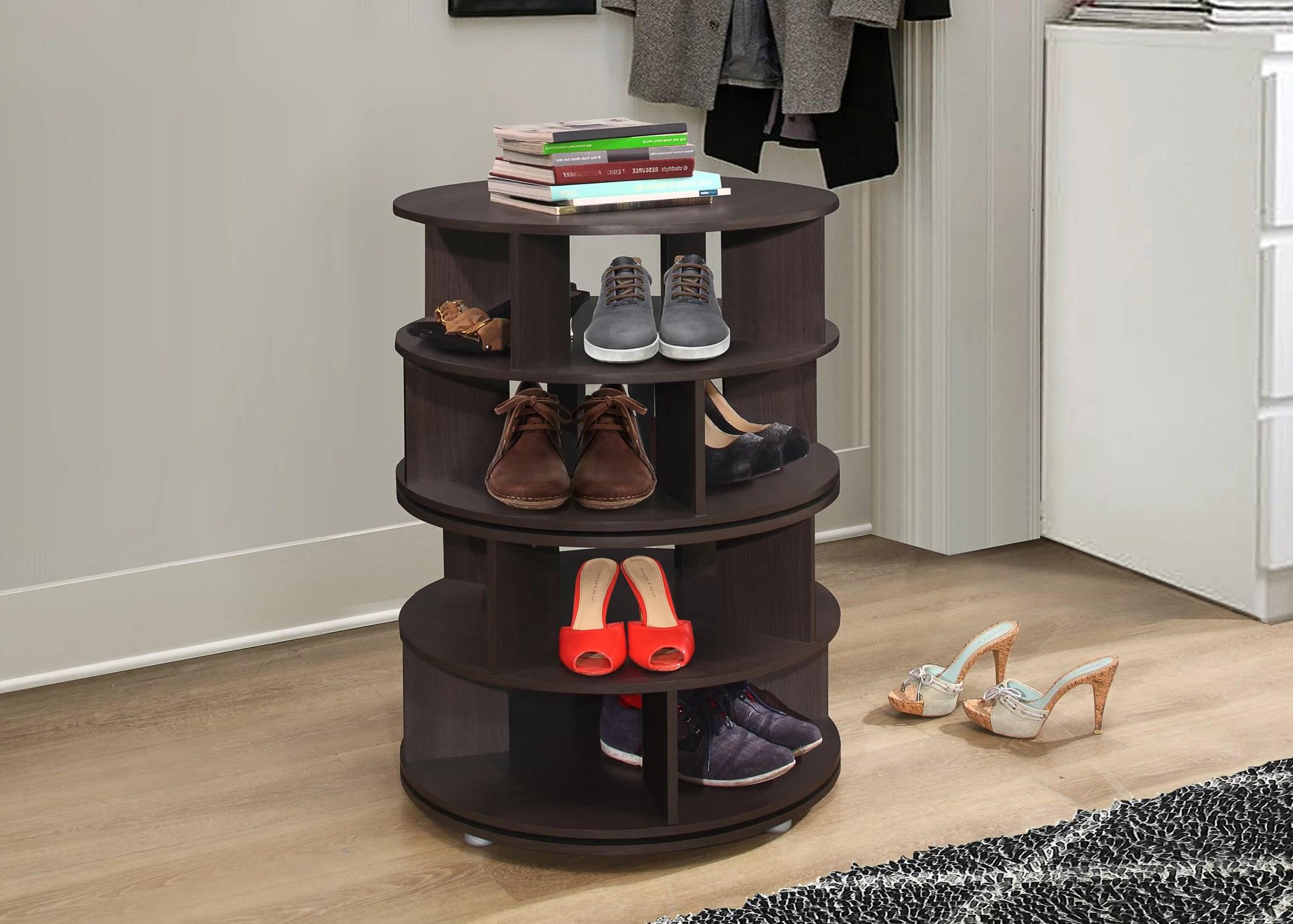 furinno revolving 4 tier shoe storage rack carousel organizer chocolate wood contemporary