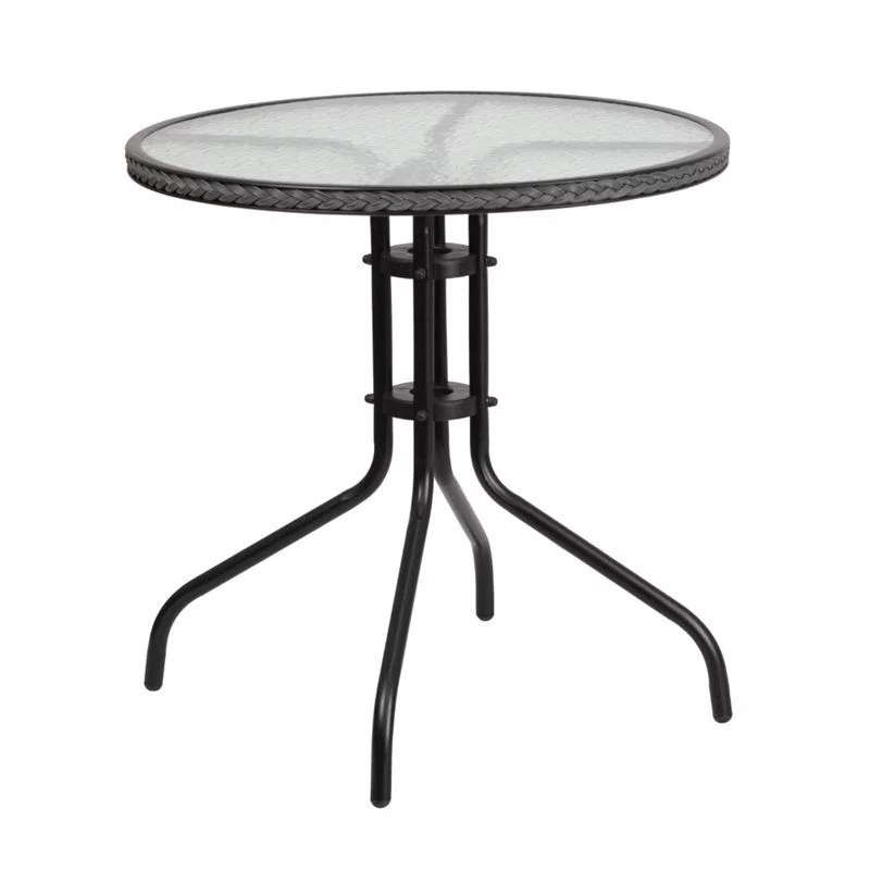 bowery hill 29 round glass top patio dining table in black gray walmart com