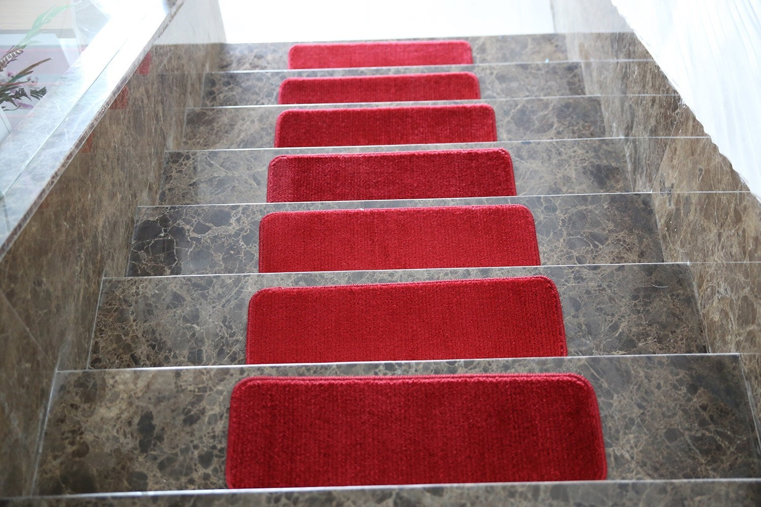 Softy Stair Treads Solid Red Set Of 7 Skid Resistant Rubber | Ottomanson Softy Stair Treads | Carpet Stair | Softy Carved | Amazon | Softy Collection | Non Slip Stair