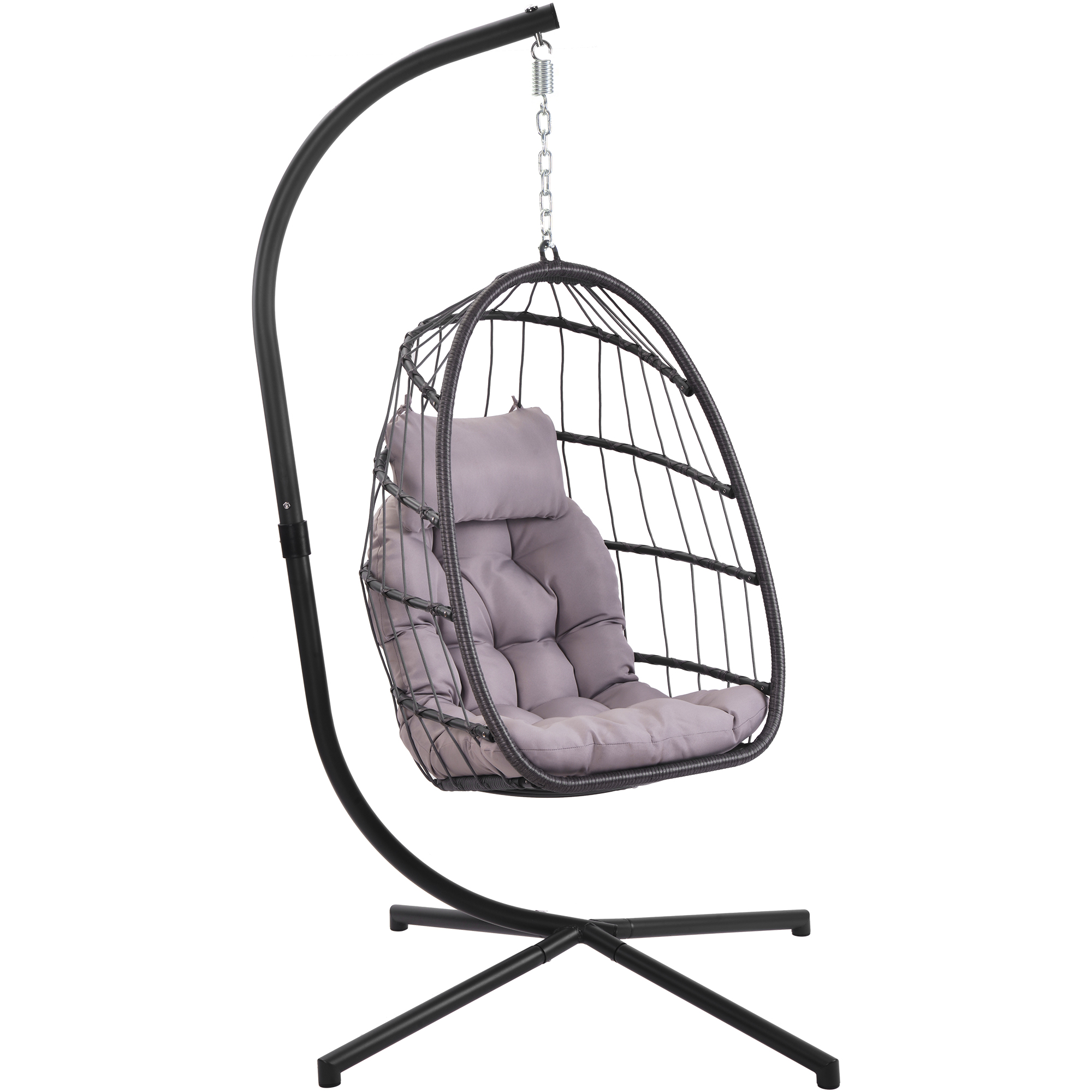 clearance hanging wicker egg chair outdoor patio hanging chairs with stand uv resistant hammock chair with comfortable gray cushion durable indoor