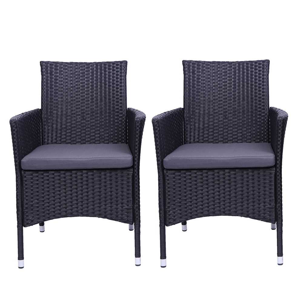 ktaxon outdoor patio dining 2pcs black rattan wicker chairs with gray cushion