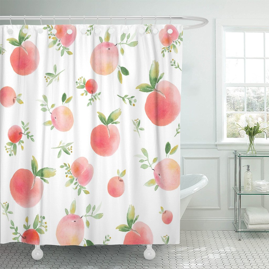pknmt colorful peach watercolor peaches green pattern apricot white aquarelle shower curtain 60x72 inches