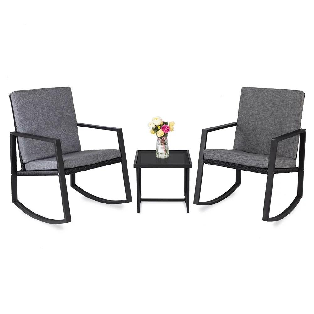 wicker chair set 2021 upgrade outdoor patio furniture set 3 piece wicker patio set with coffee table rocking bistro rattan chair conversation set