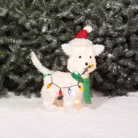 Holiday Time Christmas Decor 24 Fluffy Dog Light Sculpture