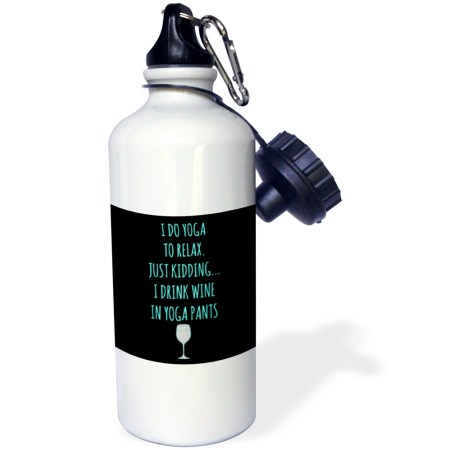 water bottle, funny, yoga, relax, wine, yoga pants