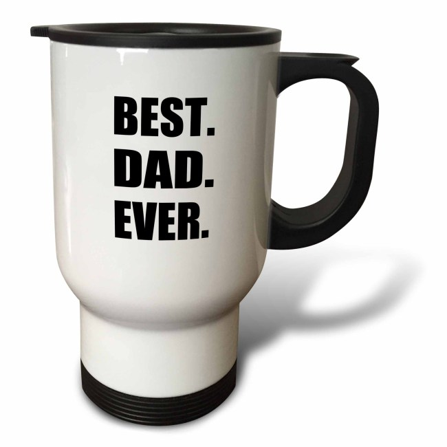3dRose Best Dad Ever - Gifts for great fathers - Fathers day - black text, Travel Mug, 14oz, Stainless Steel