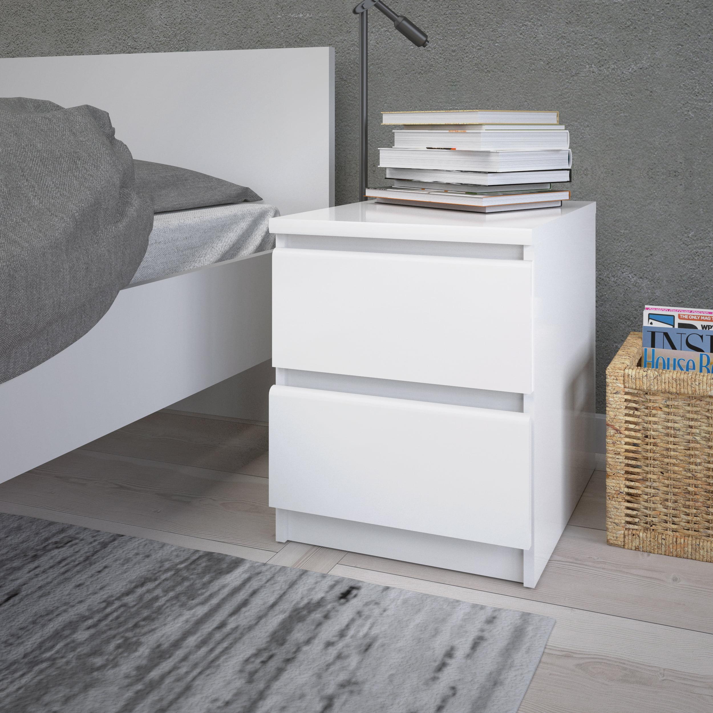 tvilum laguna 2 drawer nightstand white high gloss