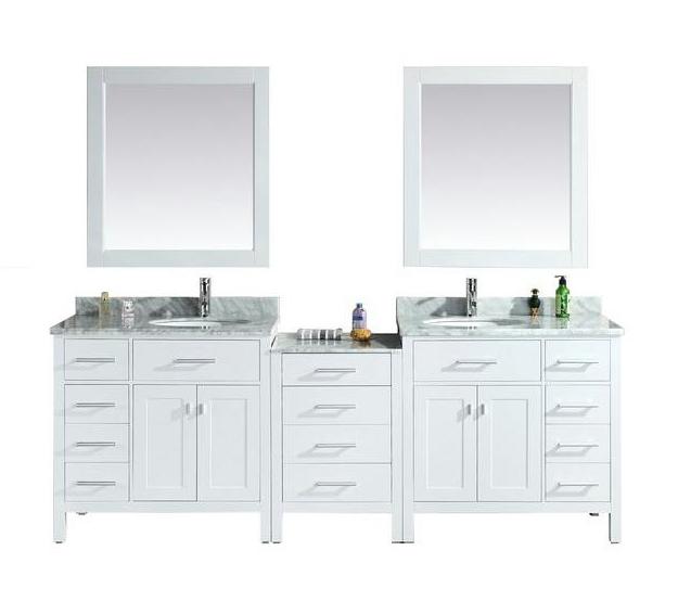 london 92 double sink vanity set in white