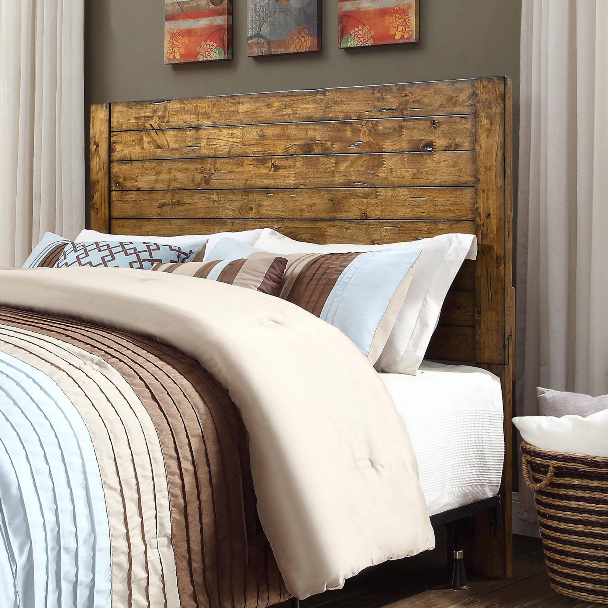 Better Homes and Gardens Bryant Full Queen Solid Wood Headboard     Better Homes and Gardens Bryant Full Queen Solid Wood Headboard  Rustic  Brown Finish