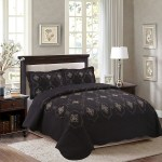 Marcielo 3 Piece Fully Quilted Embroidery Quilts Bedspreads Bed Coverlets Cover Set Cal King Size Gold Silver Emma Oversize Black Walmart Com Walmart Com