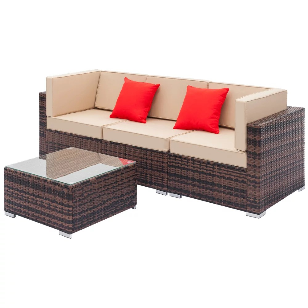 bistro patio chairs seating sets furniture for outdoor patio 4 piece wicker conversation set w l seats sofa r seats sofa single sofa tempered