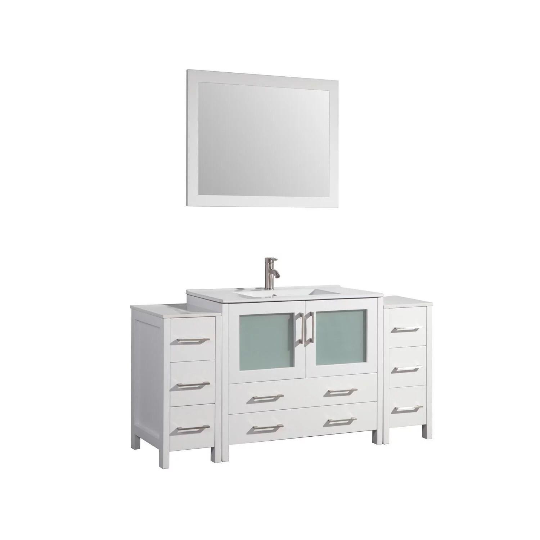 vanity art 60 inch single sink bathroom vanity set with ceramic vanity top walmart com