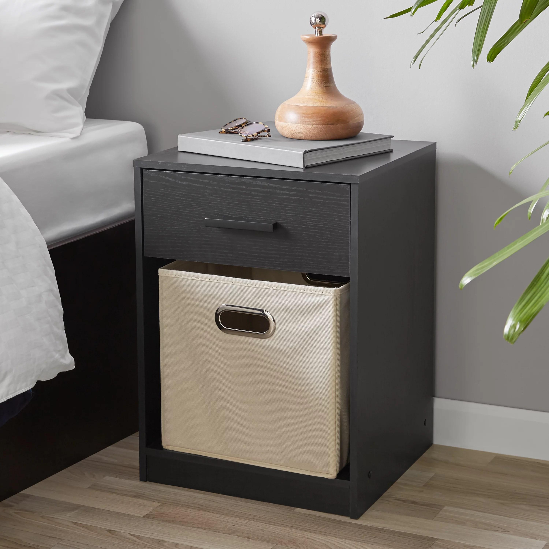 mainstays 1 drawer night stand with cube storage true black oak finish