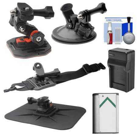 Essentials Bundle for Sony Action Cam HDR-AS50, AS200, AS300, FDR-X1000V & X3000 Camcorder with Curved Helmet, Arm & Car Mounts + Battery + Charger + Accessory Kit