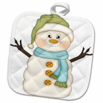 8 X 8 3d Rose Cute Happy Snowman With Bird On Snow Illustration Pot Holder Potholders Home Kitchen