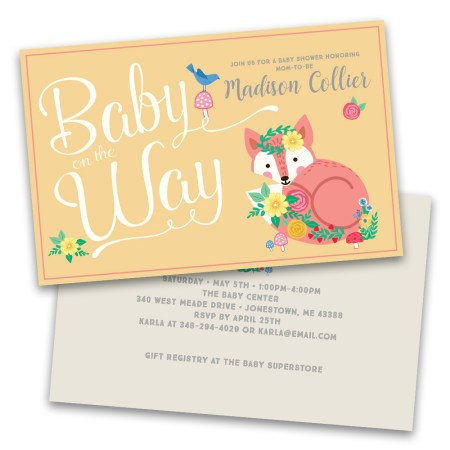 Personalized Baby On The Way Fl Fox Shower Invitations