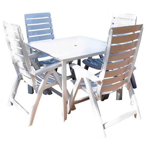 kettler rimini 5 piece patio furniture set includes 4 pieces multi position chairs and 37 inch square kettalux plus table