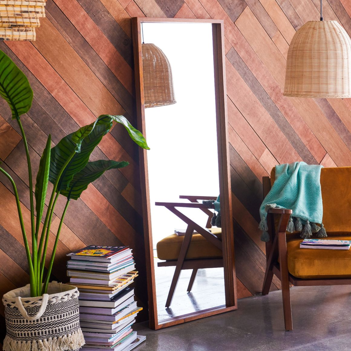 Wood Rectangle Leaner Mirror Brown 24 inch x 65 inch by Drew Barrymore Flower Home