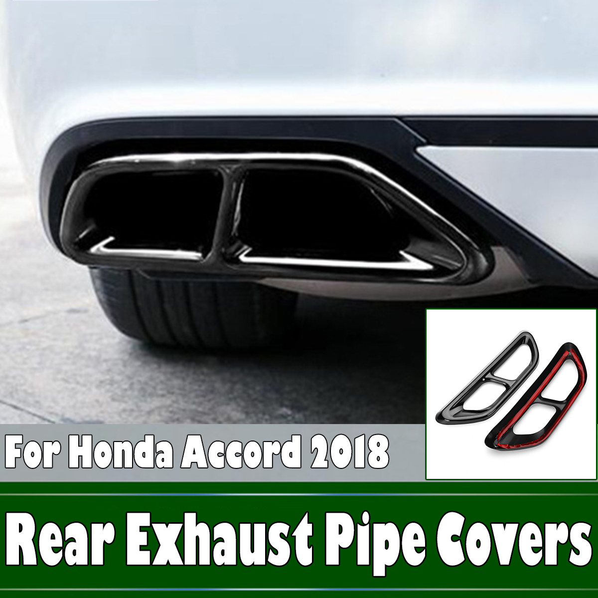 2x black titanium rear cylinder exhaust pipe cover trim for honda accord 2018