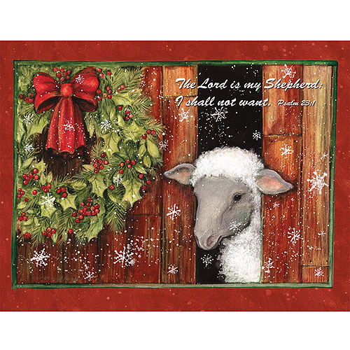 Lamb Amp Holly Wreath Boxed Christmas Card