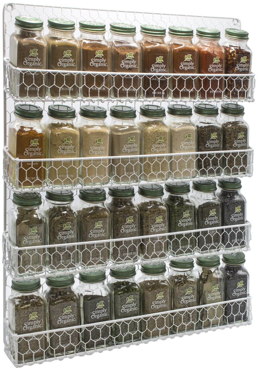sorbus spice rack and multi purpose organizer decorative 4 tier wall mounted storage rack white