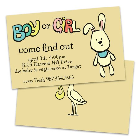 Personalized Bunny And Stork Gender Reveal Baby Shower Invitations