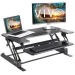Vivo Height Adjustable Standing Desk Monitor Riser Gas Spring Black Tabletop Sit To Stand Workstation Desk V000b Walmart Com Walmart Com