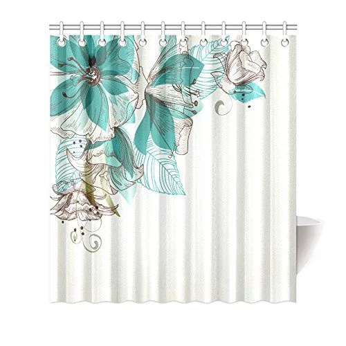 mypop turquoise flower shower curtain floral decor vintage style flowers buds with leaf retro art season celebration print fabric bathroom set with