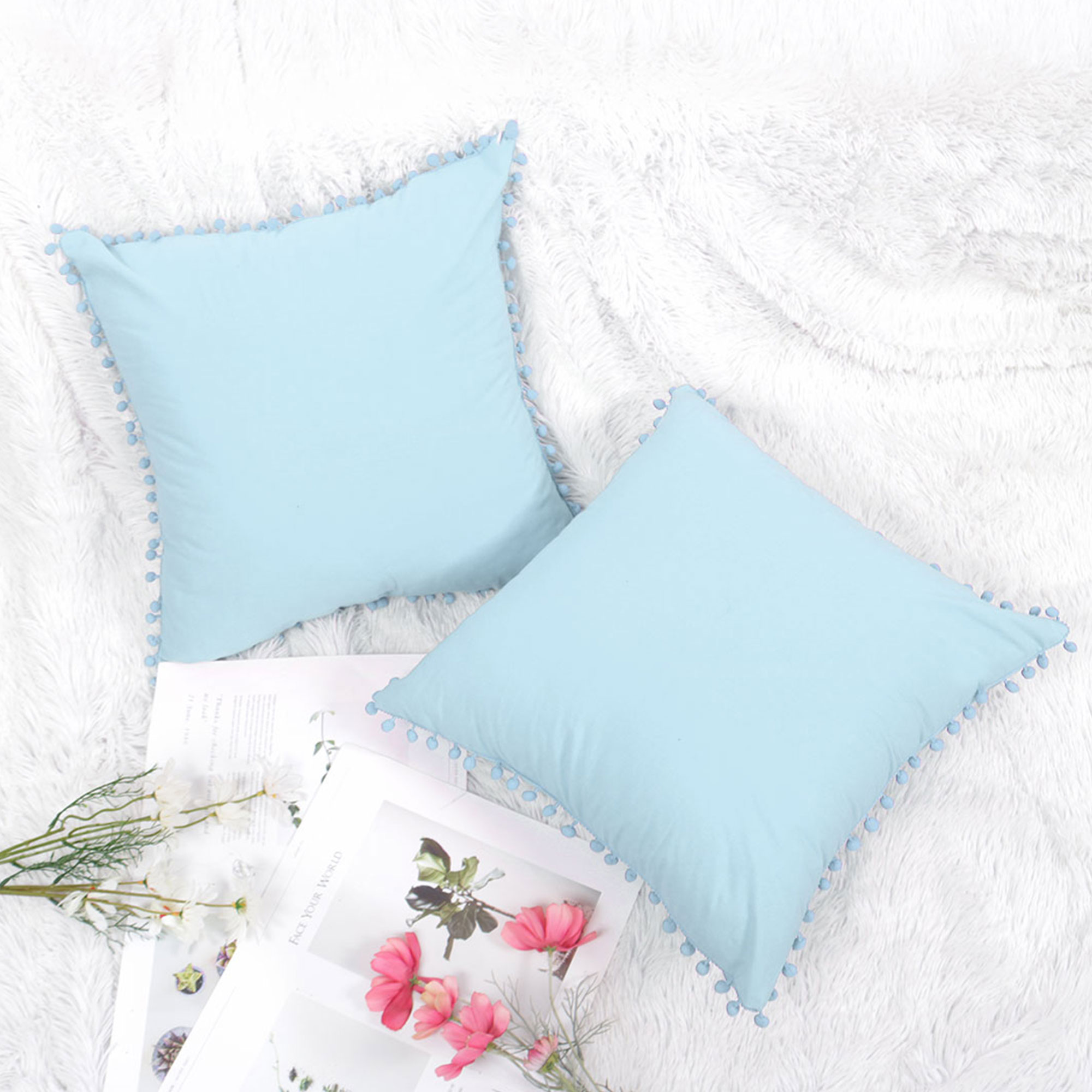 piccocasa polyester solid square throw pillow cover with pom poms 18 x18 blue 2 pack