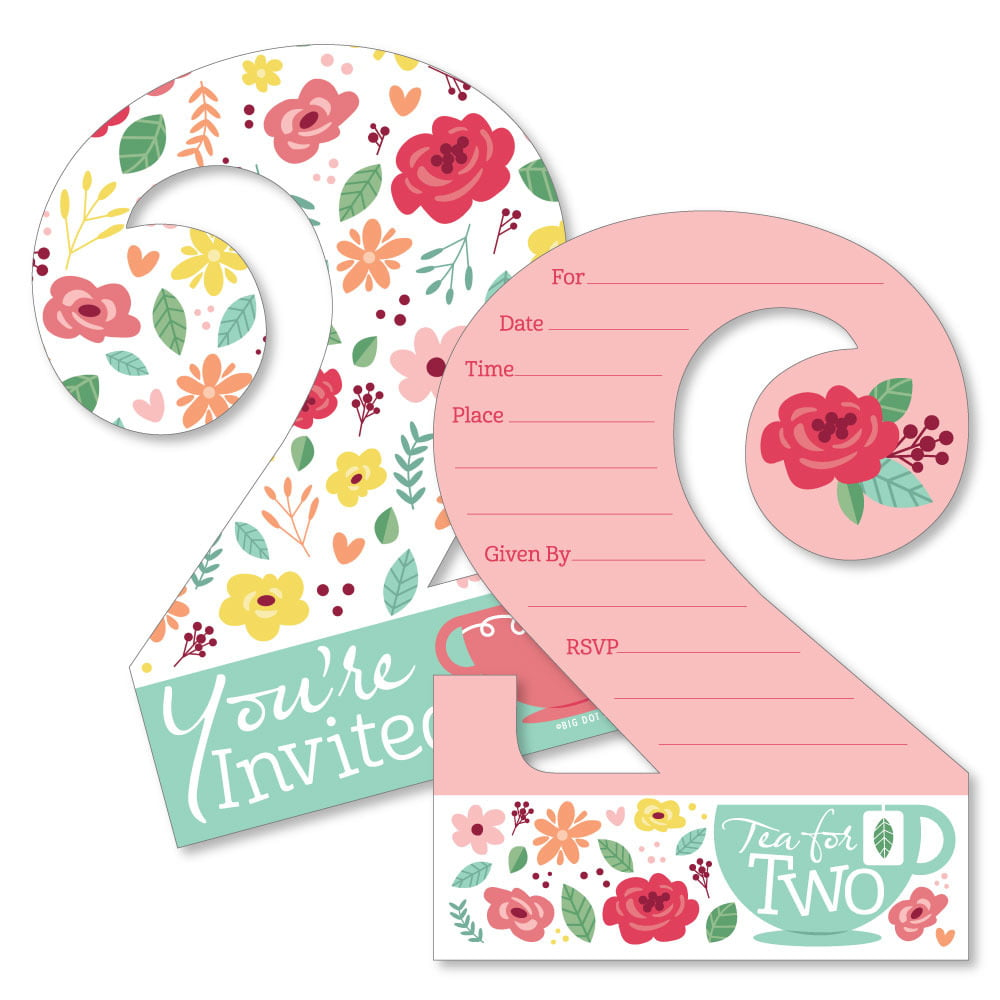 2nd birthday tea for two shaped fill in invitations garden second birthday party invitation cards with envelopes set of 12