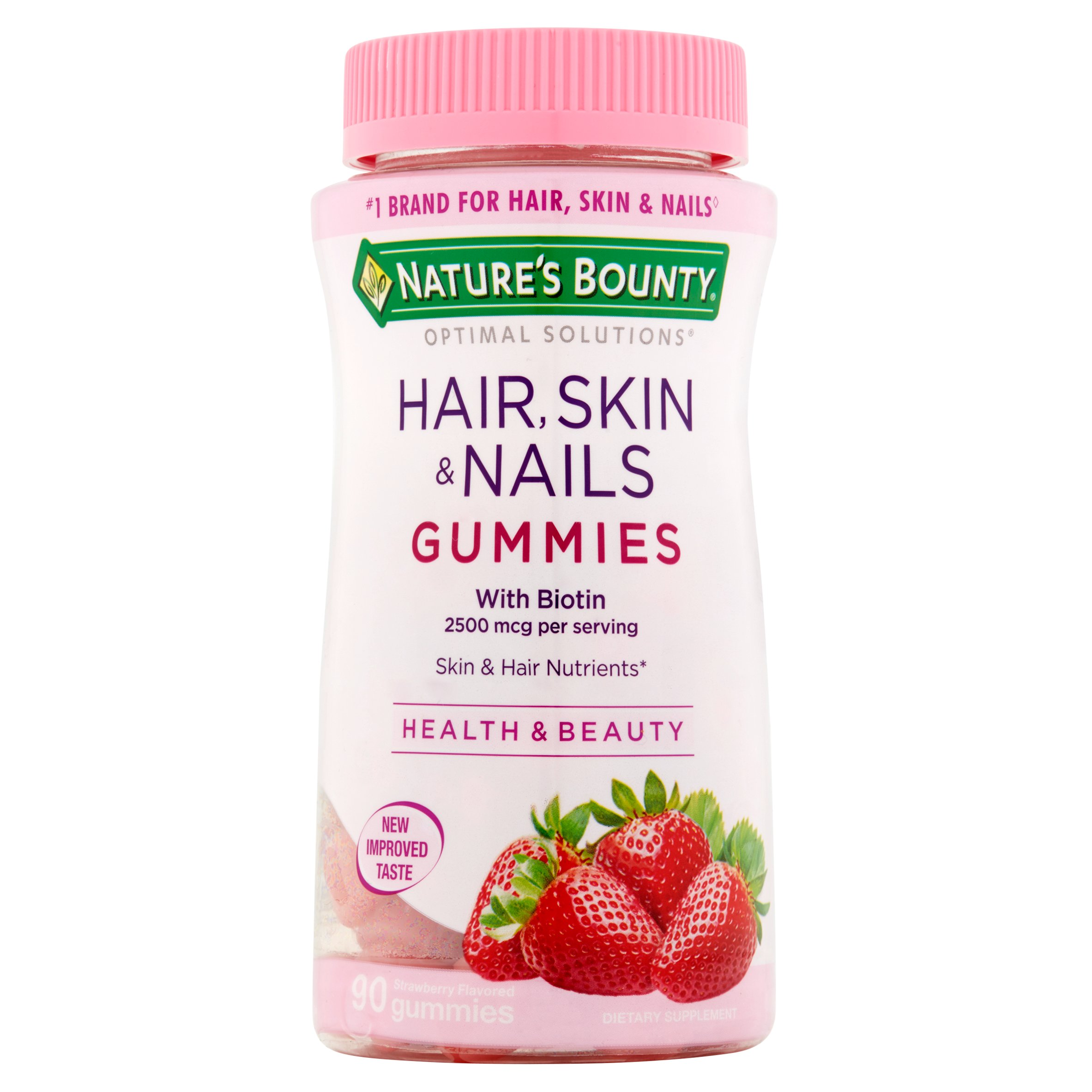 Nature's Bounty Optimal Solutions Hair, Skin & Nails Strawberry Flavored Gummies, 90 count