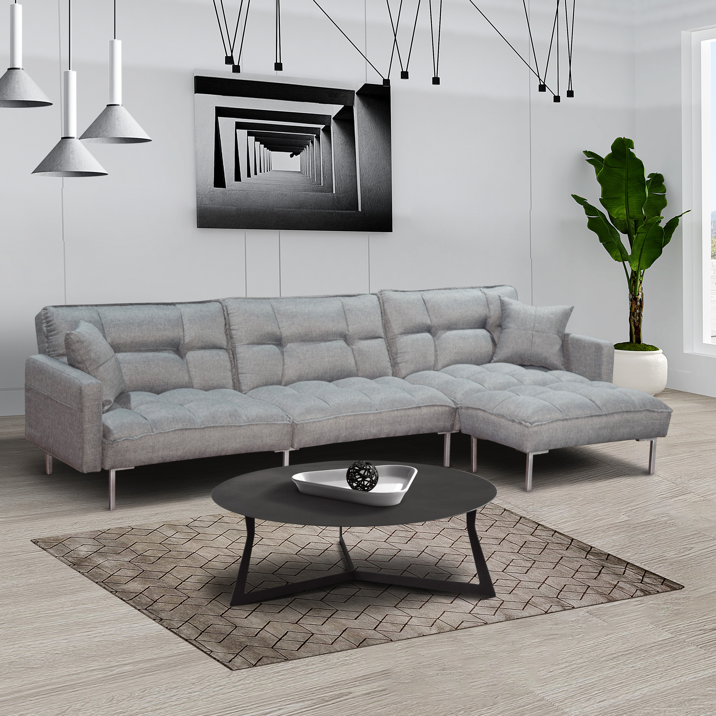 sofa bed segmart l shaped sectional sofa sleeper with reversible ottoman 2 pillows modern fabric bedroom furniture sleeper sofa couch with metal