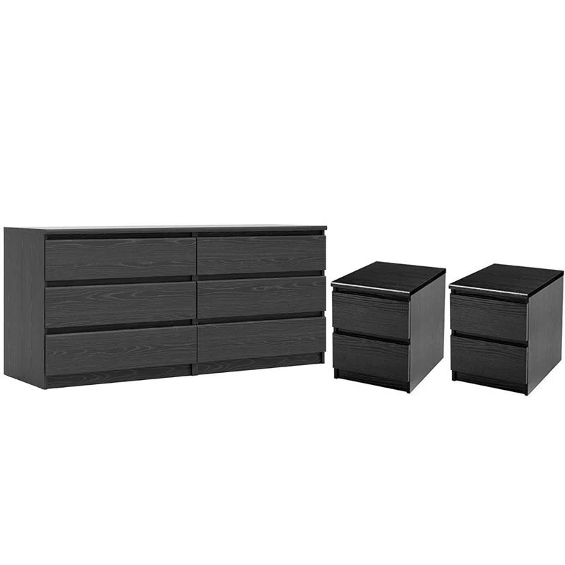 3 piece bedroom set with 6 drawer double dresser and two 2 drawer nightstands in black woodgrain