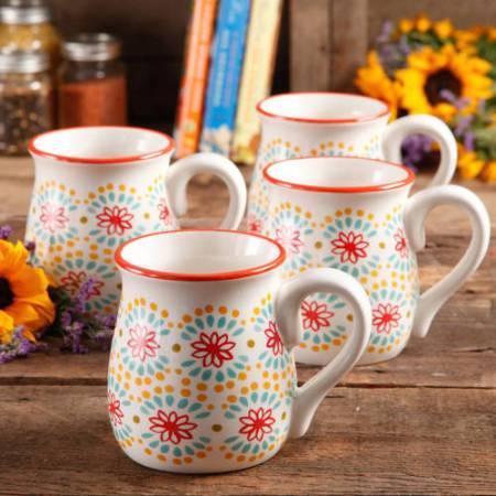 Pioneer Woman Flea Market 15 oz Decorated Belly Coffee Cup
