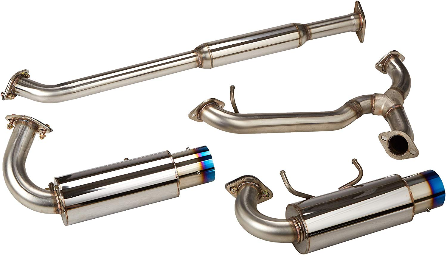 stainless catback cat back exhaust muffler 4 inch outlet dual burnt tip made for and compatible with 2013 2016 scion frs subaru brz toyota 86 13 14