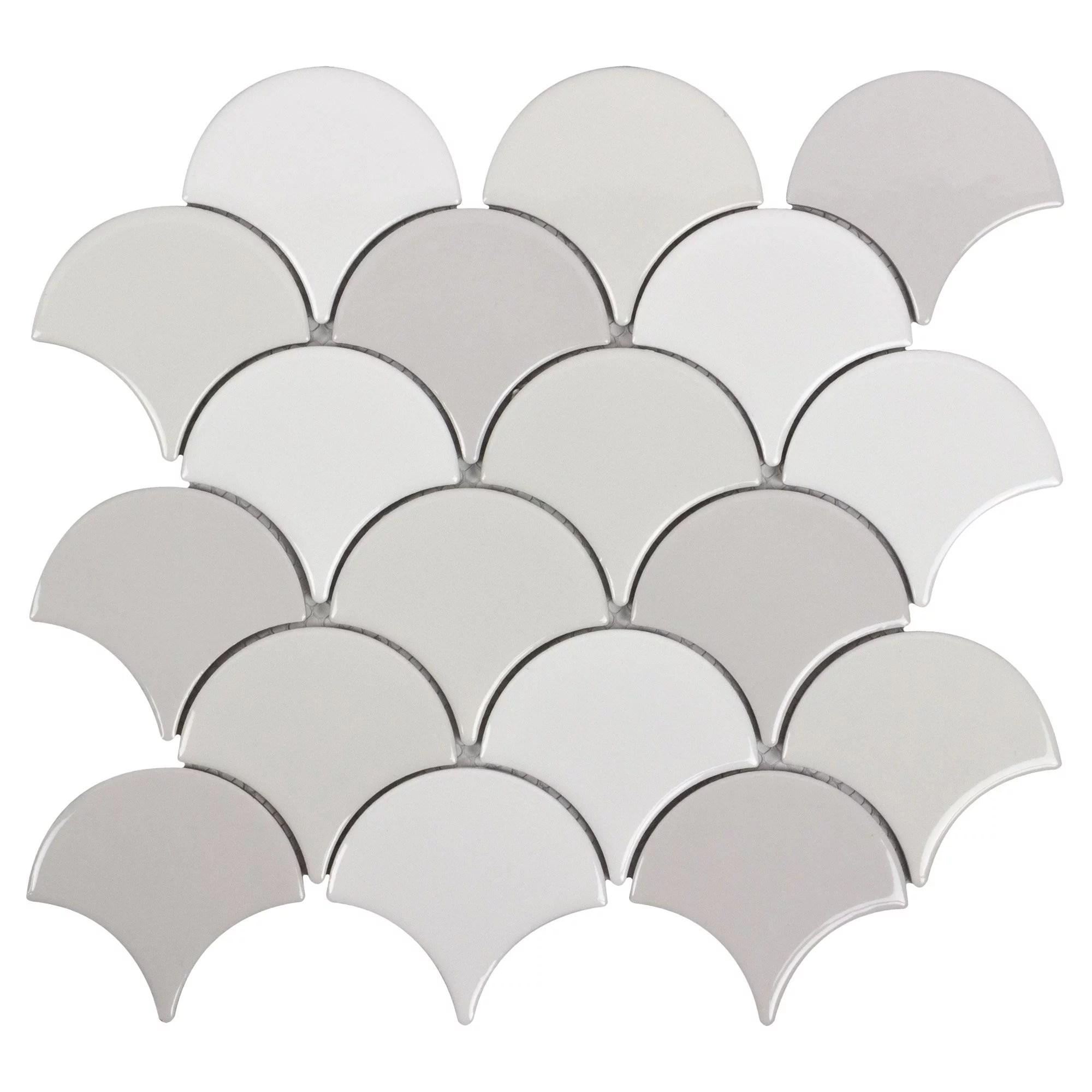 mto0242 fan fish scale scallop gray white glazed ceramic mosaic tile