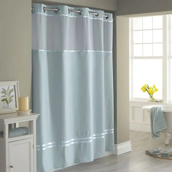 hookless escape 54 inch x 80 inch stall fabric shower curtain and liner set in blue