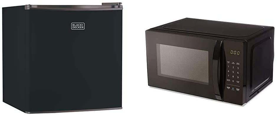 black decker bcrk17b compact refrigerator energy star single door mini fridge with freezer 1 7 cubic feet black amazonbasics microwave small 0 7