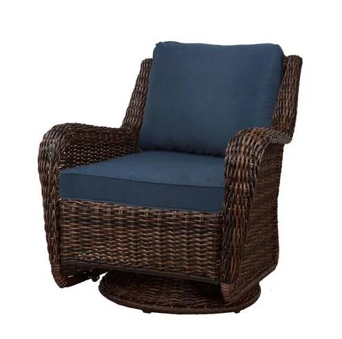 hampton bay cambridge brown wicker swivel outdoor rocking chair blue cushions walmart com