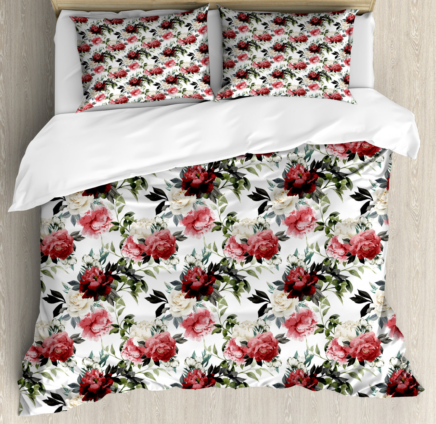 shabby chic duvet cover set floral flower roses buds with leaves and branches art print decorative bedding set with pillow shams red maroon and