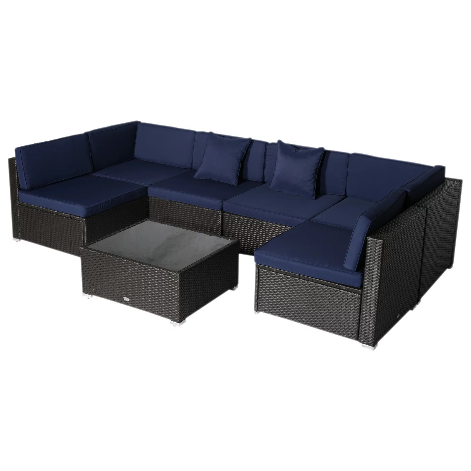 outsunny 7 piece outdoor wicker patio sofa set modern rattan conversation furniture set with cushions pillows and tea table