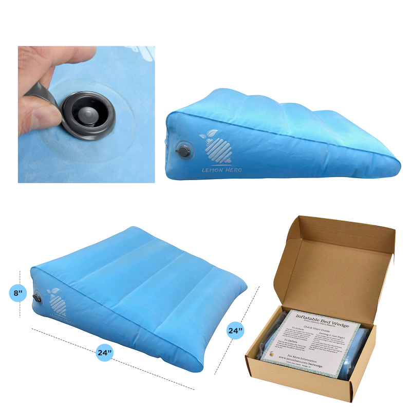 large inflatable bed wedge pillow portable lightweight 17ozs gerd incline pillow w quick valve travel blow up triangle for acid reflux anti