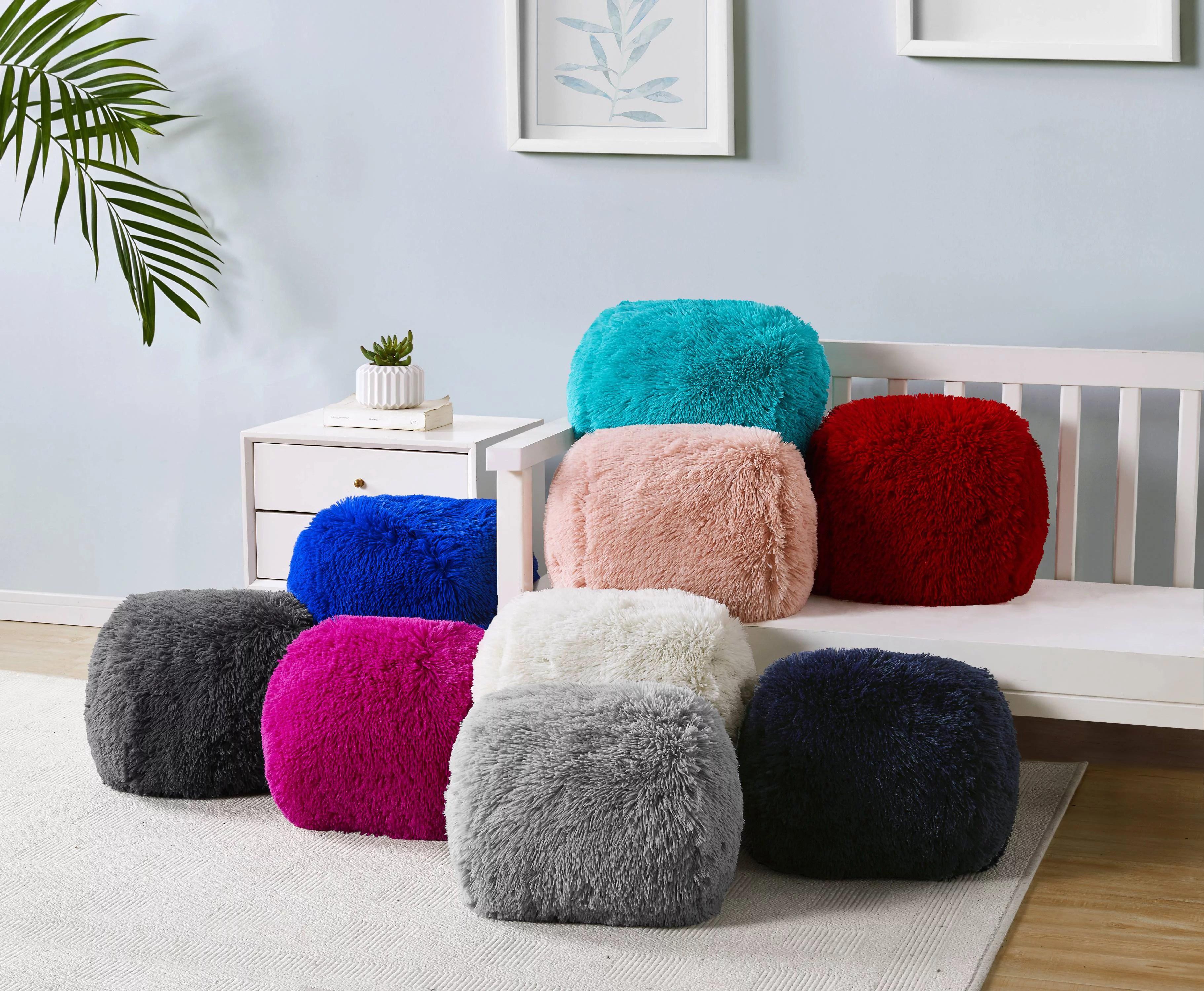 mainstays fluffy faux fur decorative pillow set 2 pack ivory walmart com