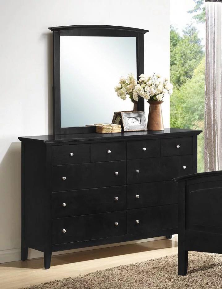 dresser with mirror in black